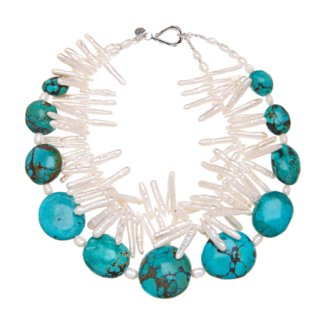 turquoise and white fresh water pearls necklace