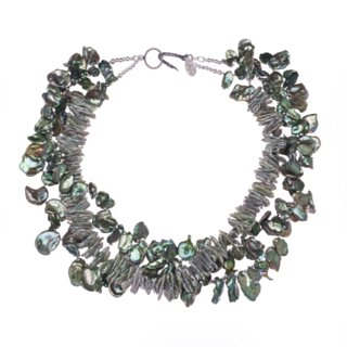green cornflake fresh water pearls necklace