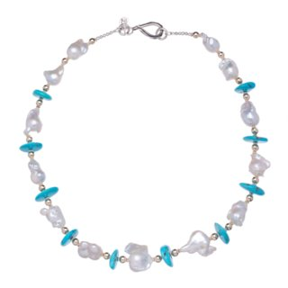 Baroque White Pearls, Sleeping Beauty Turquoise, 14K Gold and Sterling Silver