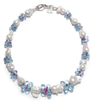 baroque pearls, blue topaz and ruby necklace
