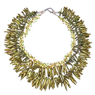 golden green fresh water pearls necklace