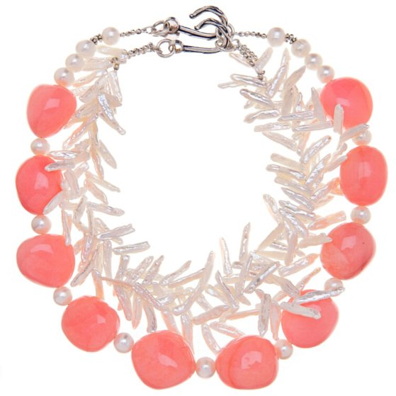 salmon pink quartz necklace