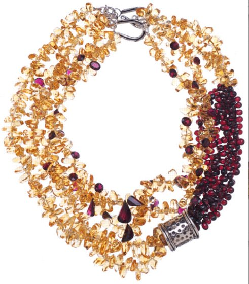 Multi-Strand Citrine and Garnet Ropes
