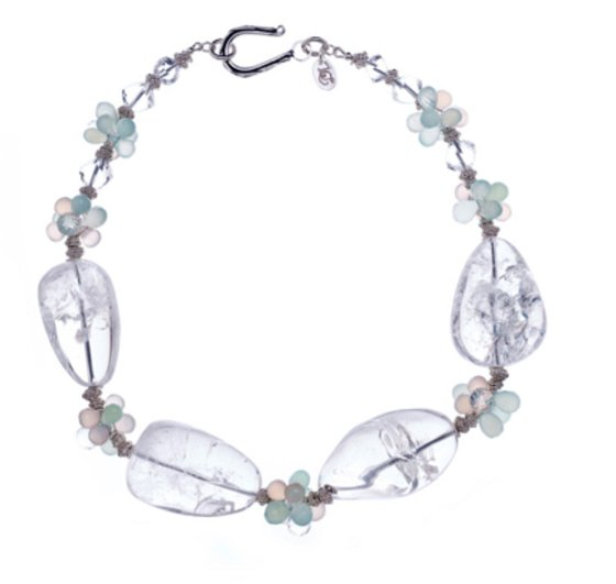 Crystal quartz, pink chalcedony, aqua chalcedony and sterling silver