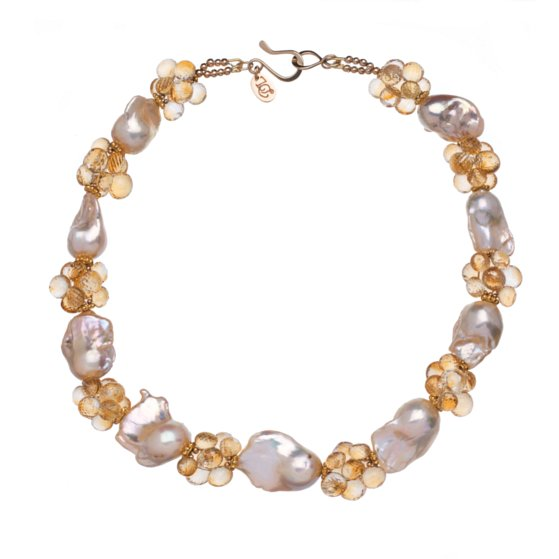 Baroque Peach Pearls, Citrine and 14K Gold