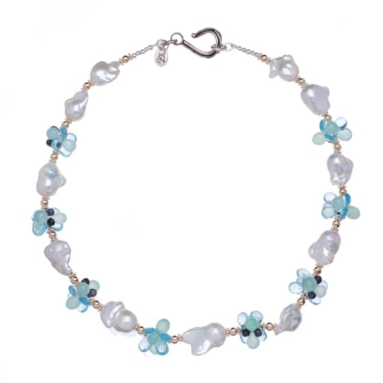 Baroque White Pearls, Blue Topaz, Aqua Chalcedony, 14K Gold and Sterling Silver