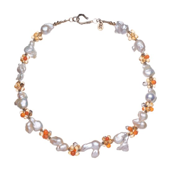 Baroque White Pearls, Citrine, Carnelian, Smoky Quartz and Gold Vermeil