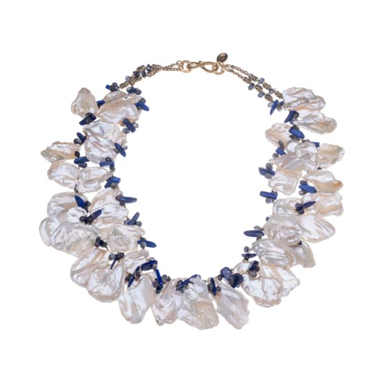 Multi-Strand White Cornflake Pearl, Lapis and Gold Vermeil Necklace