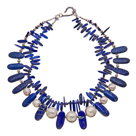 lapis and hill tribe silver necklace