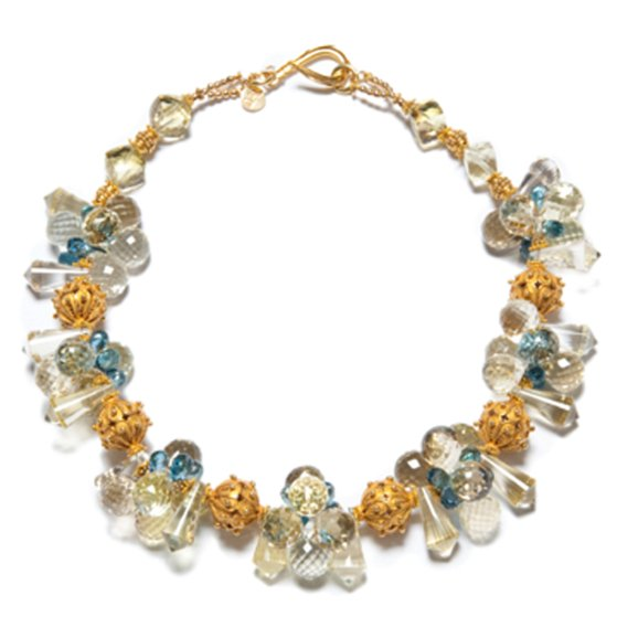lemon quartz and london topaz necklace